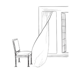 Room interior sketch Hand drawn chair and window vector image