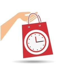 hand holds bag gift clock design vector image