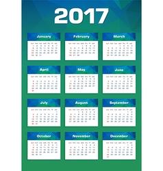 New Year Calendar 2017 Sunday First vector image