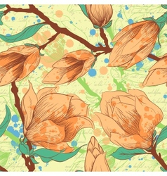 Vintage seamless pattern with magnolia flowers vector image