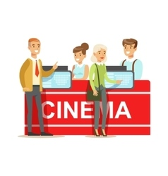 Cinema visitors buying tickets at counter part of vector