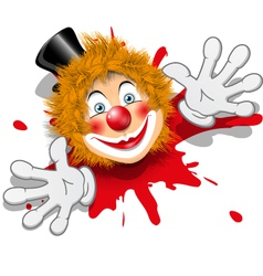 Redhaired clown in white gloves vector