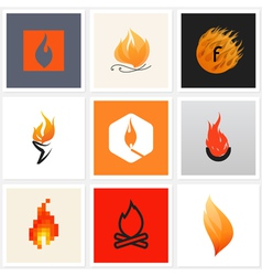 Flame - set of posters and design elements vector