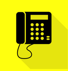 Communication or phone sign black icon with flat vector