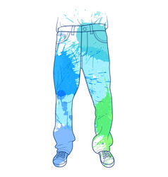 Hand drawn jeans with colored spots vector