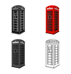 Red phone cabin icon in cartoon style isolated on vector