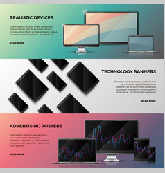 Advertising banners with computer screen vector