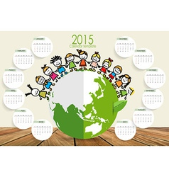 2015 calendar Cute children on Green Eco Earth vector image vector image