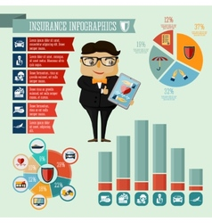 Insurance company agent infographics design vector