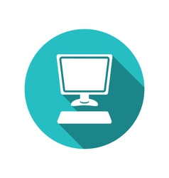 computer and keyboard flat icon with long shadows vector image
