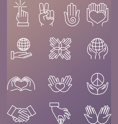 Set of linear hand icons and gestures vector
