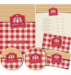 Wine list set vector
