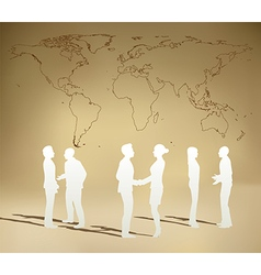 Business people team with world map vector