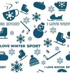 Winter sports seamless pattern white vector