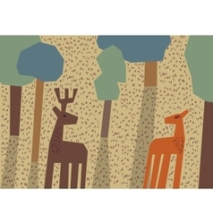 Couple deer love forest animals vector