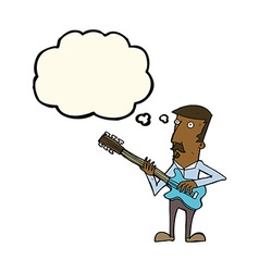 cartoon man playing electric guitar with thought vector image