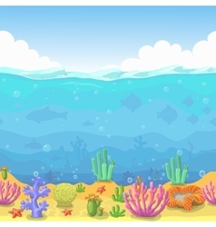 Seamless underwater landscape in cartoon style vector