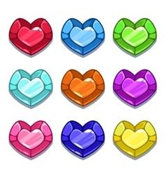 Funny cartoon colorful heart shape gems vector image