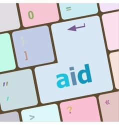 aid word with key on enter keyboard vector image