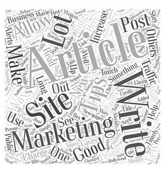 Article Marketing Tips Word Cloud Concept vector image vector image