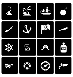 Black pirate icon set vector
