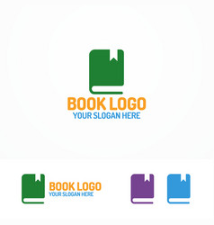 book logo set different color vector image vector image