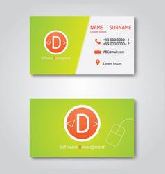 business card template modern flat design vector image