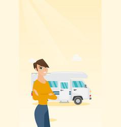 caucasian woman standing in front of motorhome vector image vector image