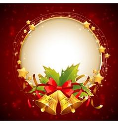 Christmas decorative golden congratulation card vector image vector image