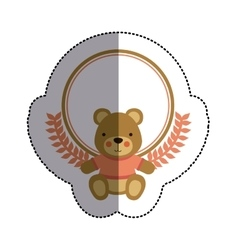 Color sticker circle with teddy bear with t-shirt vector