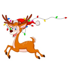 Cute deer cartoon with colorful bulb vector image vector image