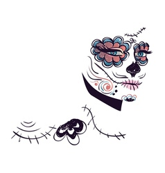 Day of Dead Girl Face6 vector image vector image