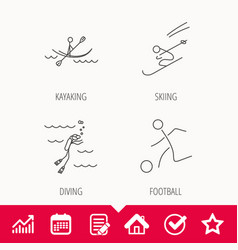 Diving football and skiing icons vector