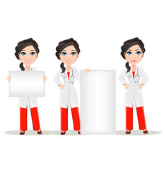 Doctor woman with stethoscope set cute cartoon vector