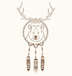 Dream catcher bear horns ethnic vector