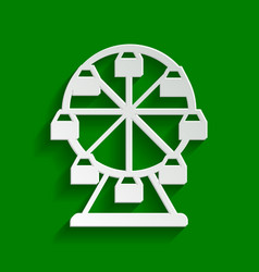 Ferris wheel sign paper whitish icon with vector