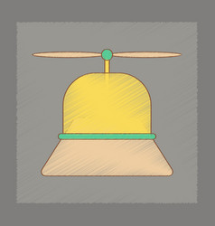 Flat shading style icon kids helicopter vector