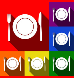 Fork knife and plate sign set of icons vector