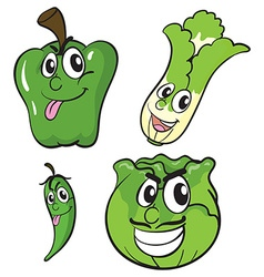 Green vegetables with facial expressions vector image vector image