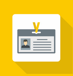 Identification card icon flat style vector