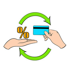 Interest on credit card icon cartoon vector