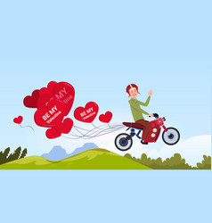 Man riding motor bike with heart shaped air vector