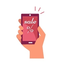 Mobile phone in hand with sale and percentage sign vector