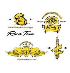 moto biker theme icon set cafe racer golden vector image vector image