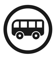 No bus prohibition sign line icon vector