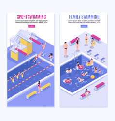 sport swimming vertical banners vector image