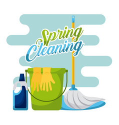 Spring cleaning bucket mop gloves and cleaning vector