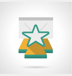 Star on stage podium flat color icon vector