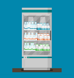 supermarket flat refrigerator with milk products vector image