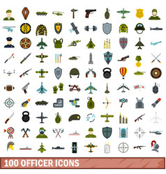100 officer icons set flat style vector